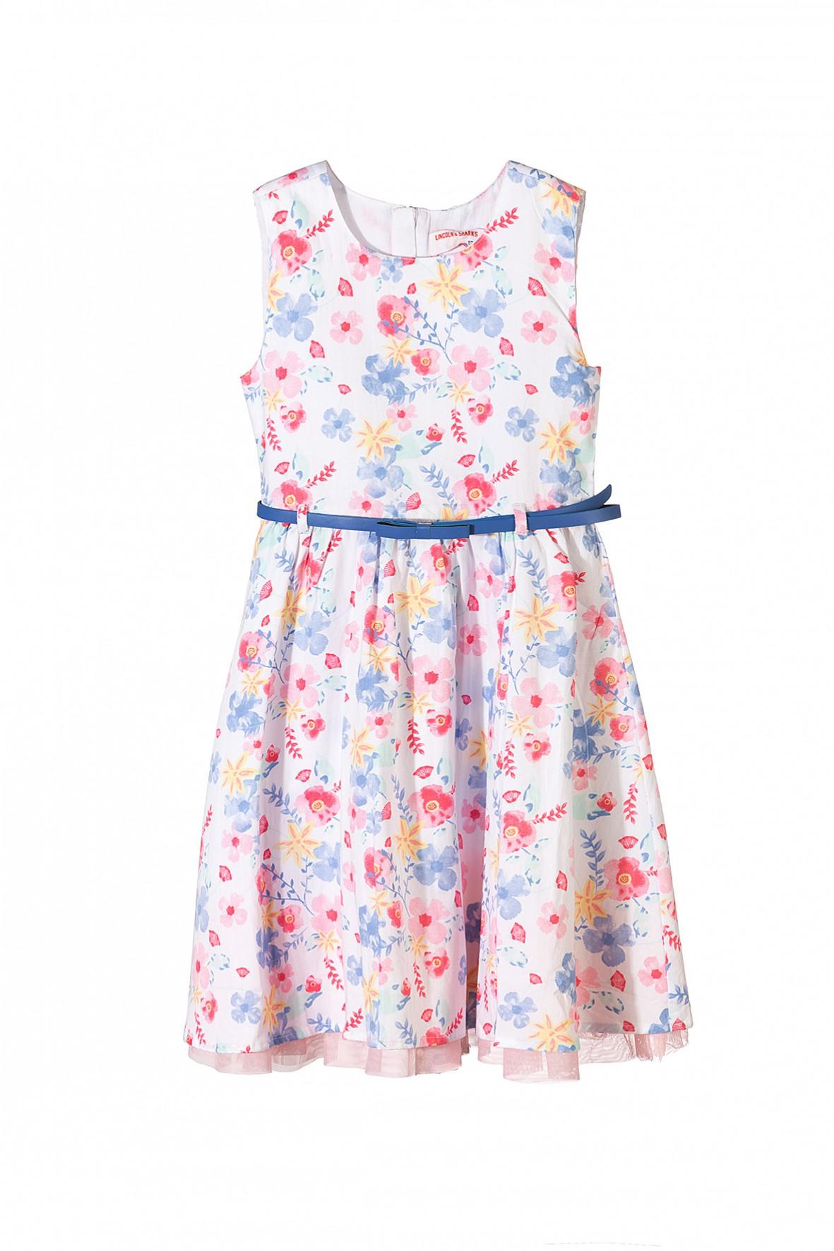 33ffbc9f5e Elegancka sukienka w kwiatki- z niebieskim paskiem i tiulowa podszewką.