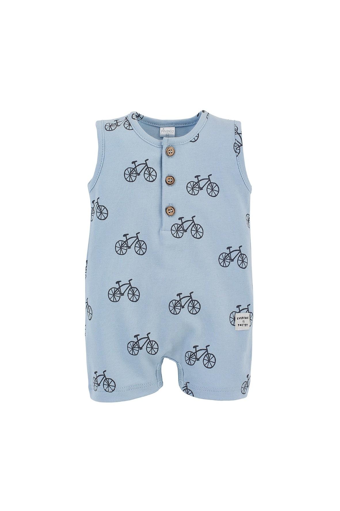 Niebieski, bawełniany rampers dla chłopca