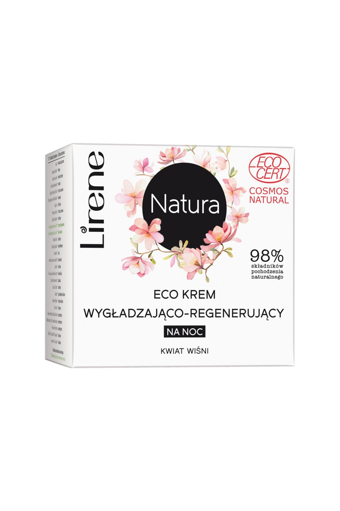 Lirene Natura Eco krem wygładzająco-regenerujący na noc kwiat wiśni 50 ml