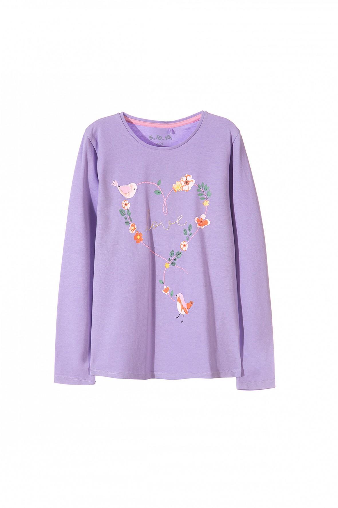 Bluzka dziewczęca z długim rękawem fioletowa