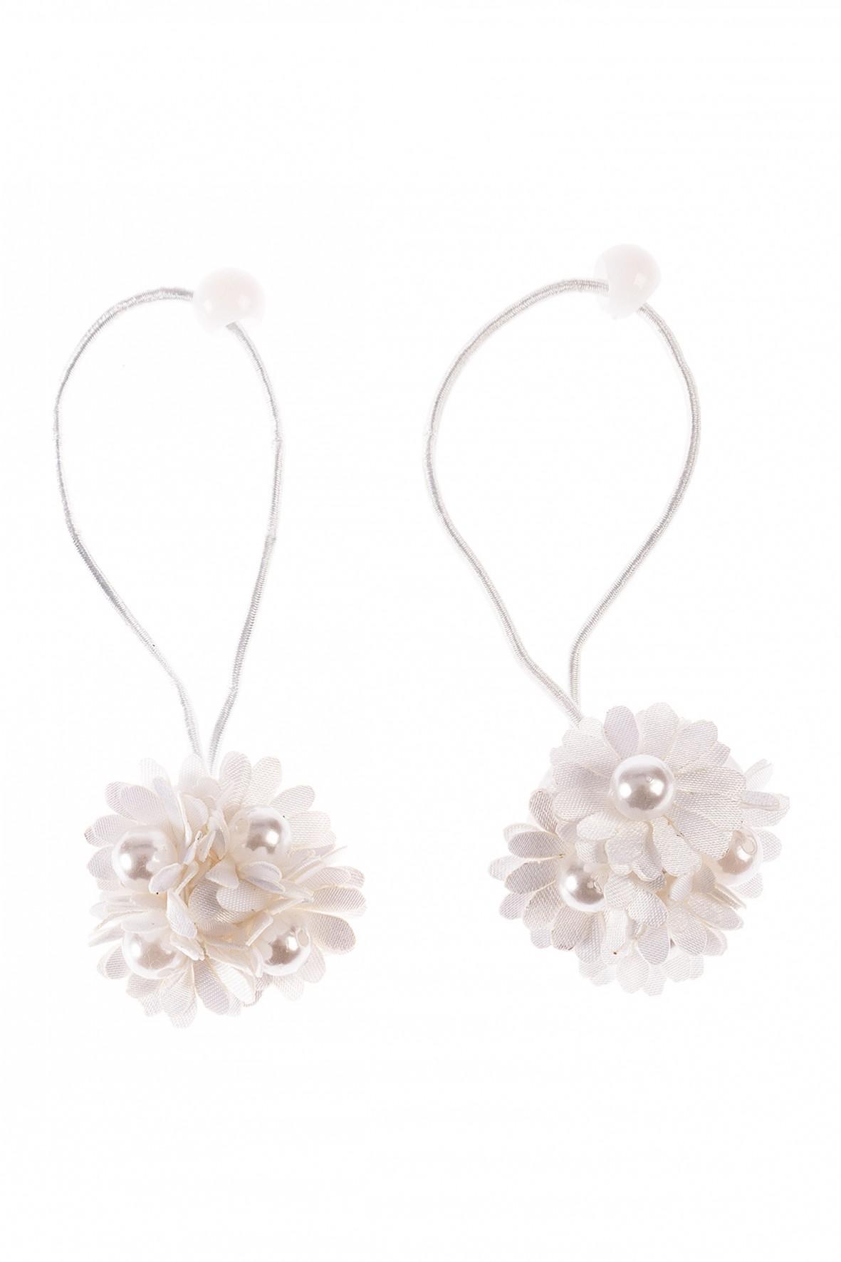 Gumki do włosów 2szt białe kwiatki