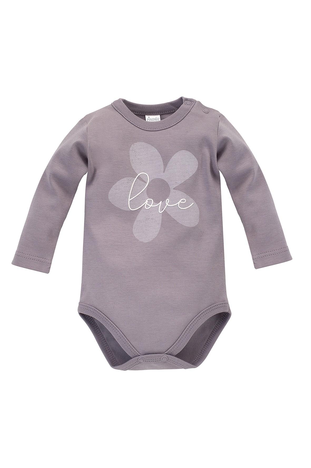 Body niemowlęce z długim rękawem szare z kwiatkiem