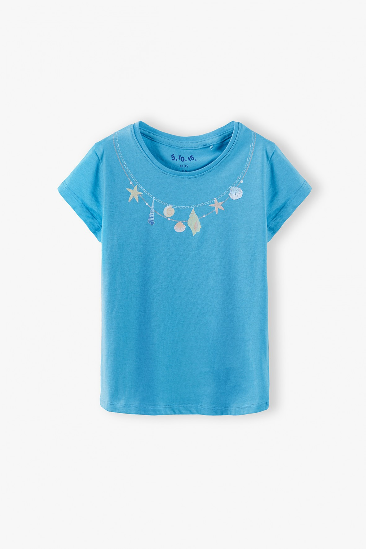 Bluzka dziewczęca z muszelkami - niebieska