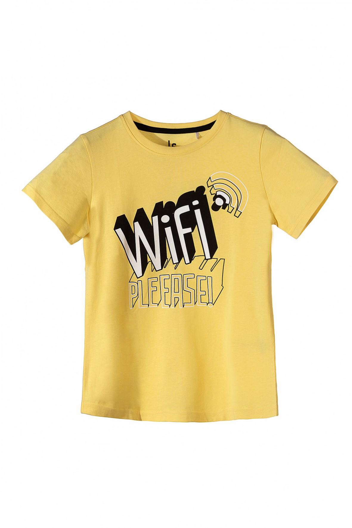 Koszulka chłopięca z krótkim rękawem WIFI-żółta