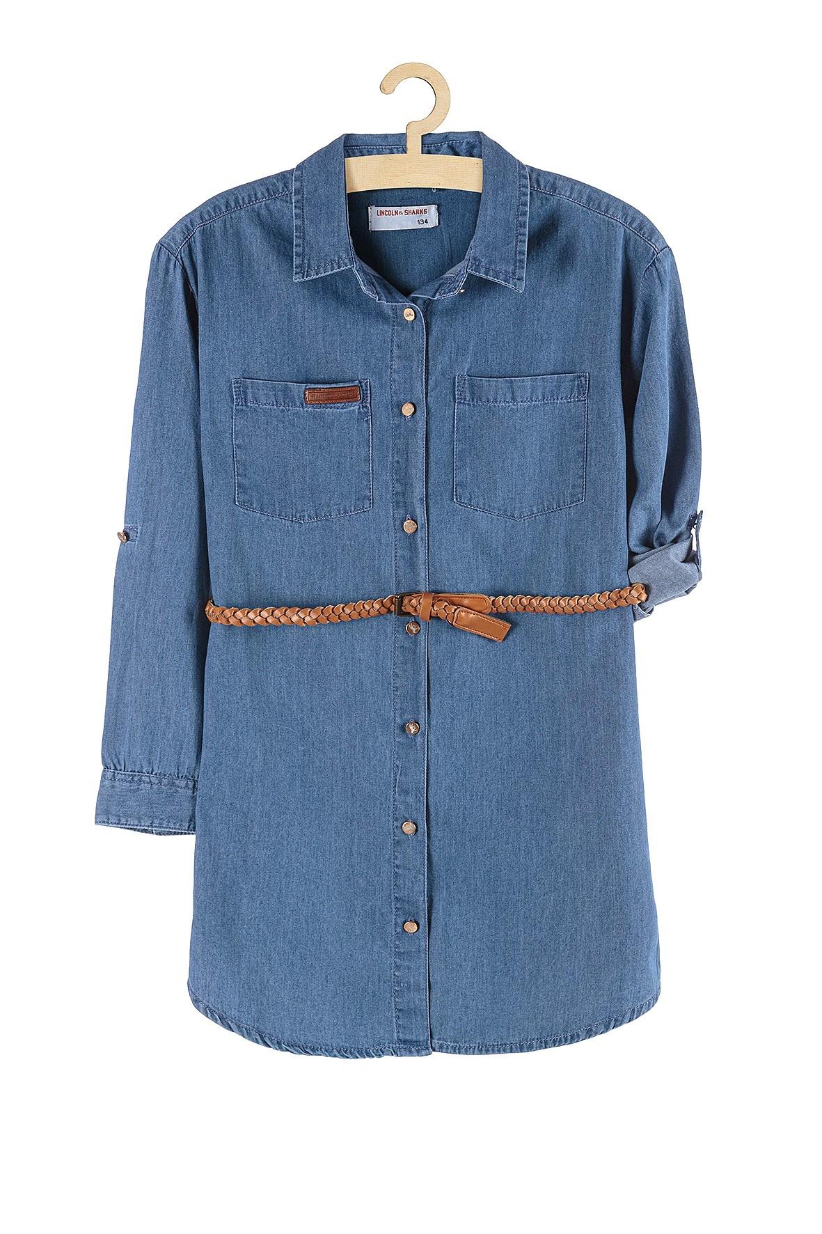 Jeansowa tunika dla dziewczynki- niebieska