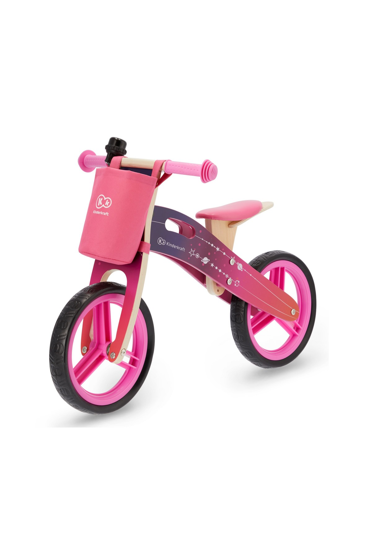 Rowerek biegowy Runner Galaxy róż z akcesoriami Kinderkraft