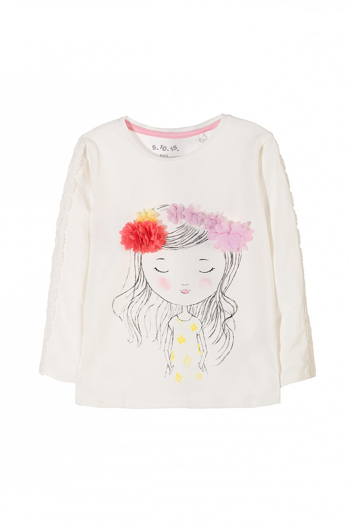 e8cbd81275 Dzianinowa bluzka dziewczęca z długim rękawem i aplikacją 3D- kolor ...