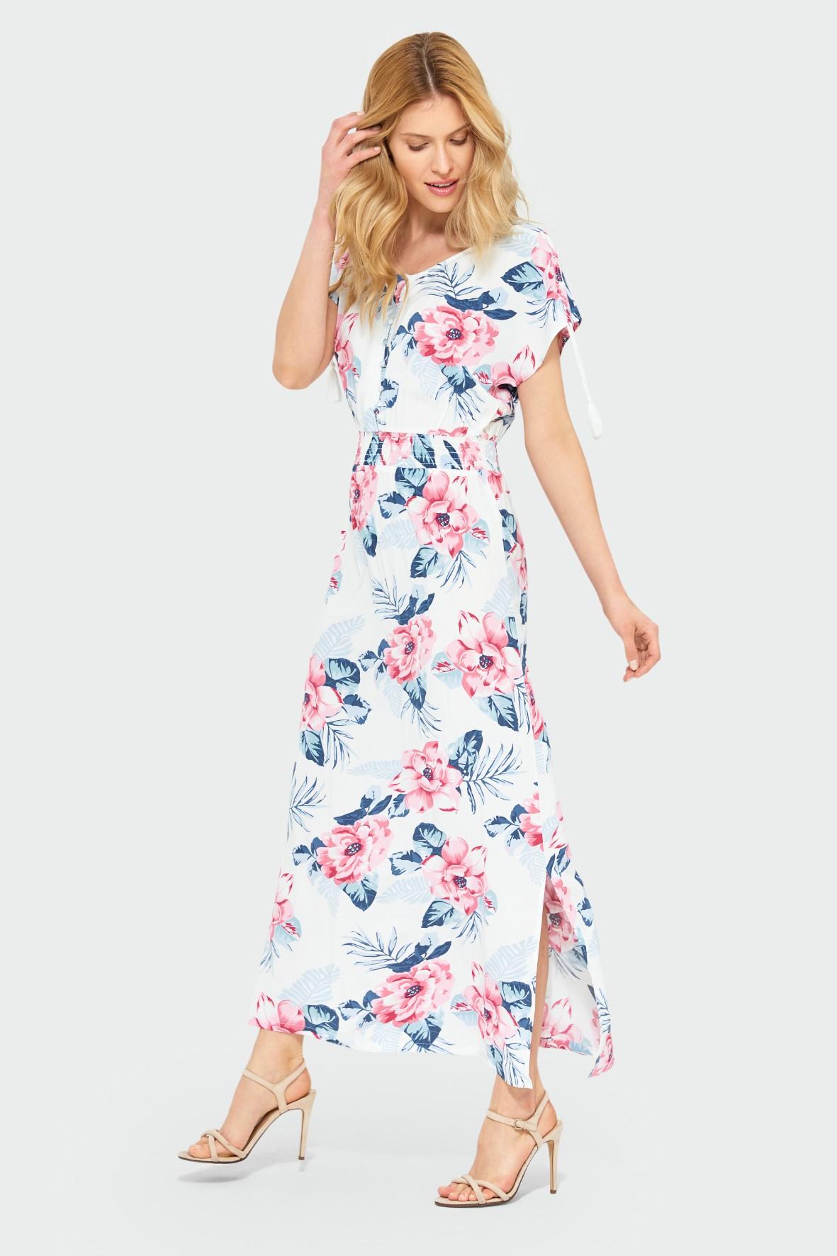 Długa wiskozowa sukienka w kwiaty