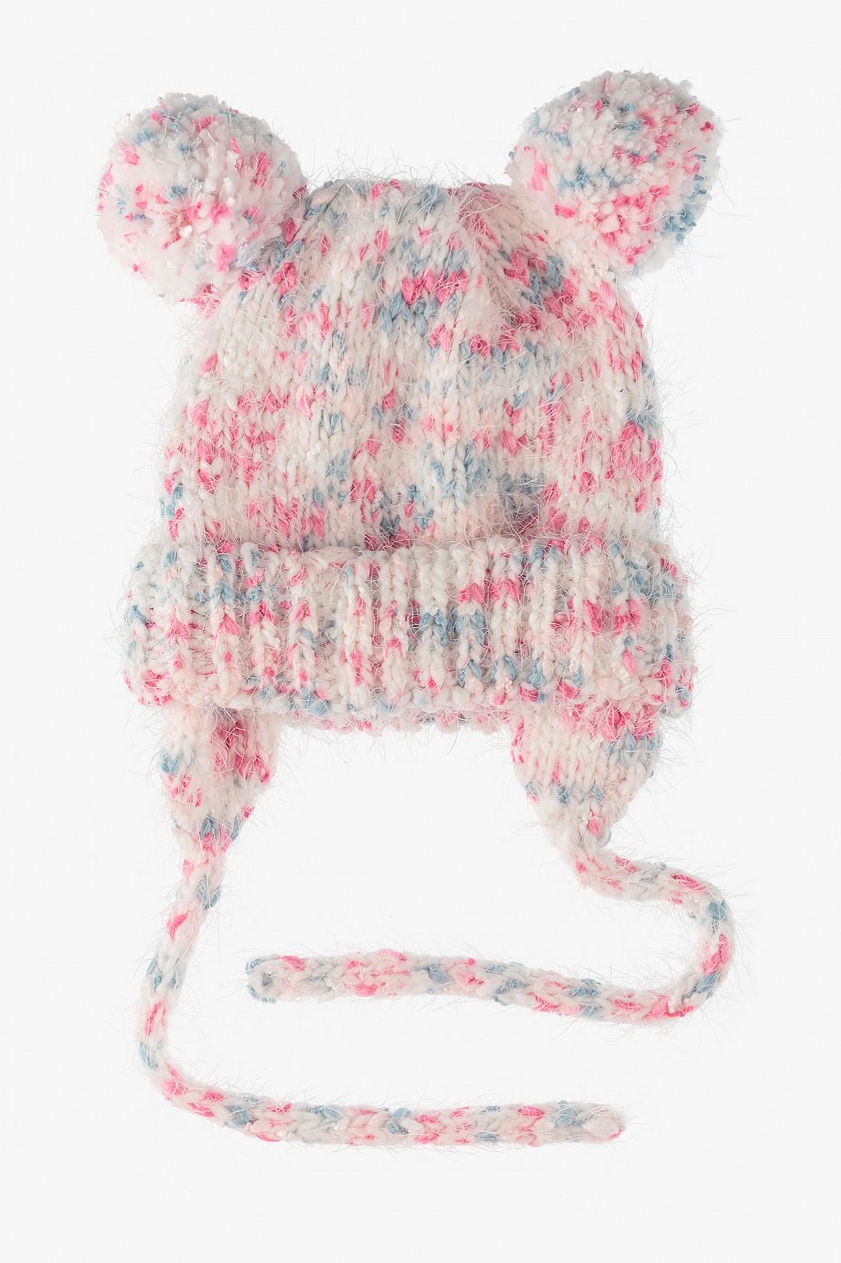 Czapka zimowa dla dziewczynki-różowa wiązana pod szyją