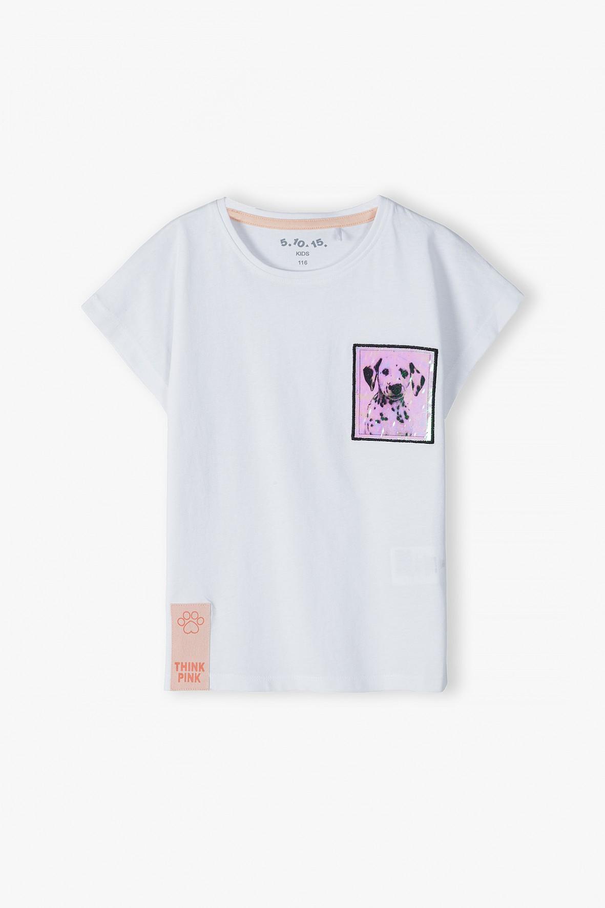 Bawełniana bluzka dziewczęca z holograficzną kieszonką