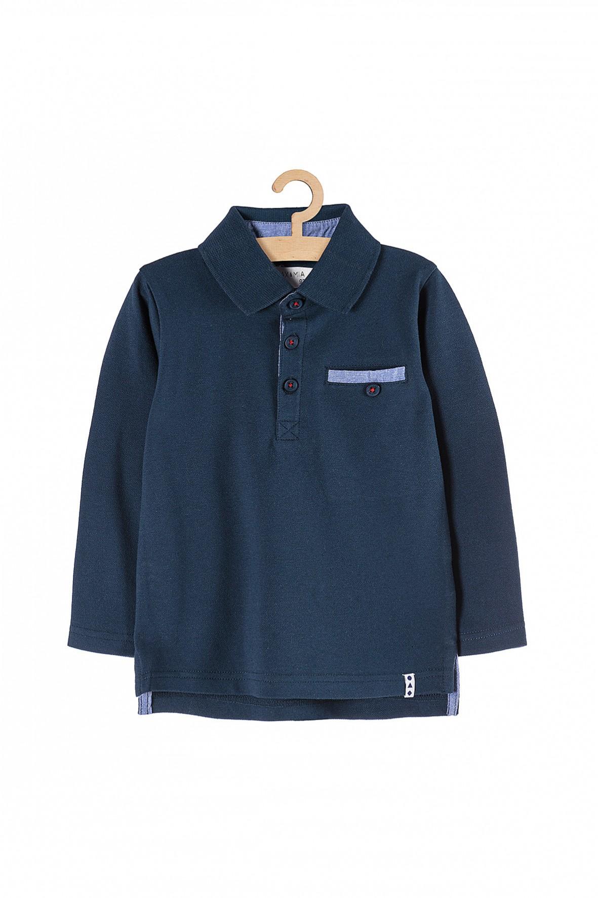 Granatowa bluzka z kołnierzykiem dla chłopca