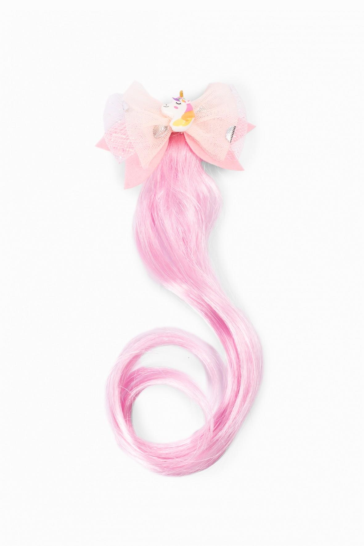 Spinka do włosów z ozdobnym różowym włosiem