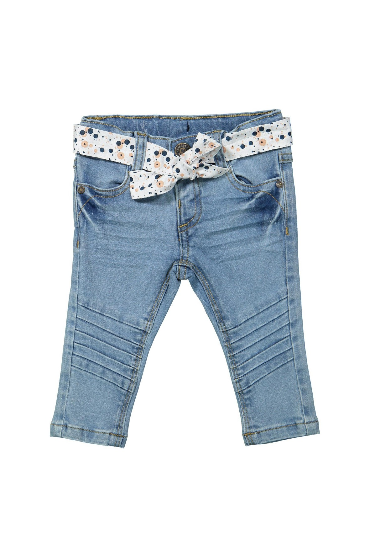Spodnie dziewczęce jeansowe z przeszyciami na kolanach