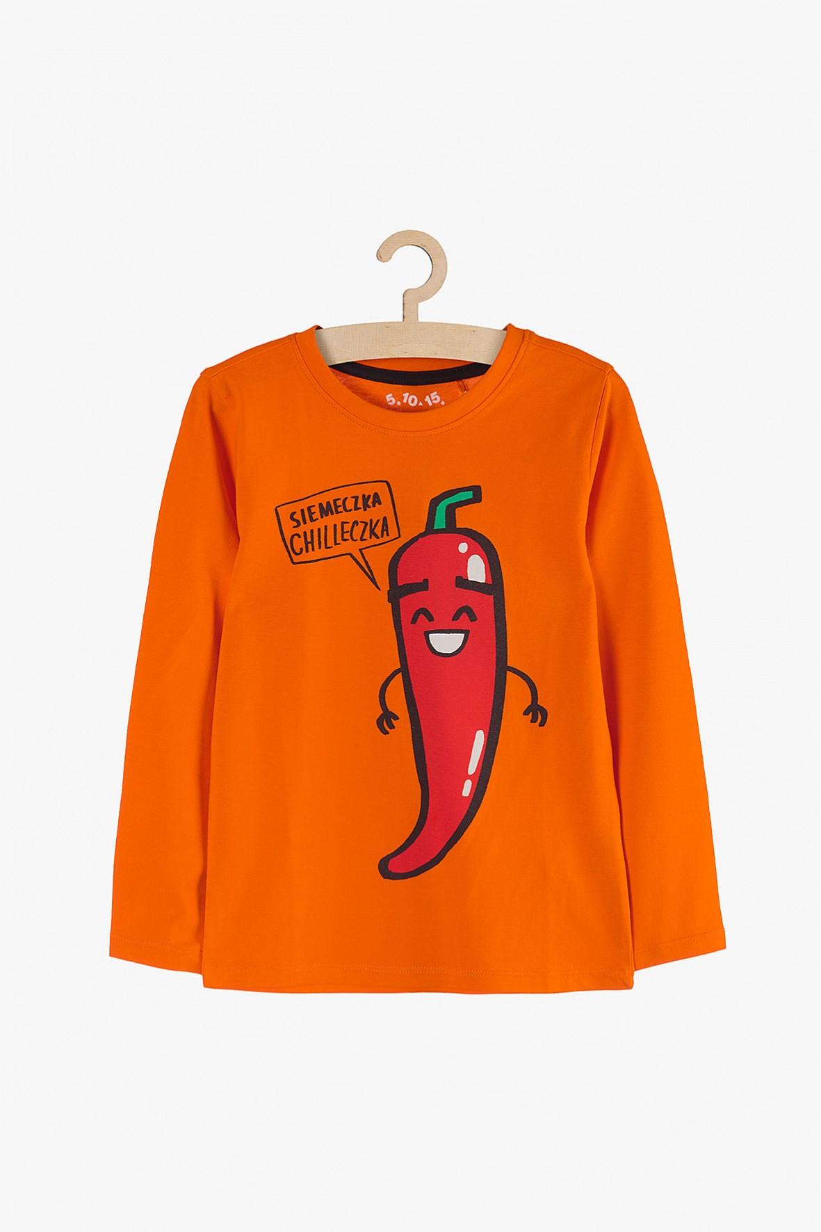 Bawełniana bluzka dla chłopca- pomarańczowa