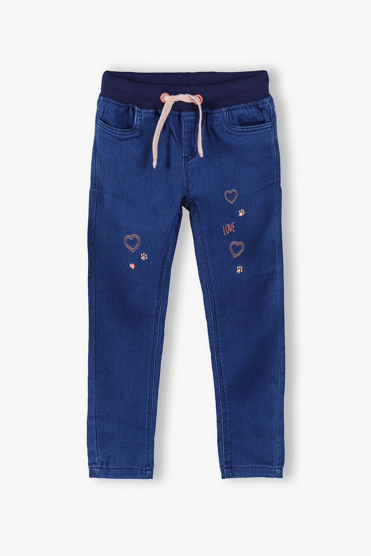 Spodnie dziewczęce w serduszka - granatowe