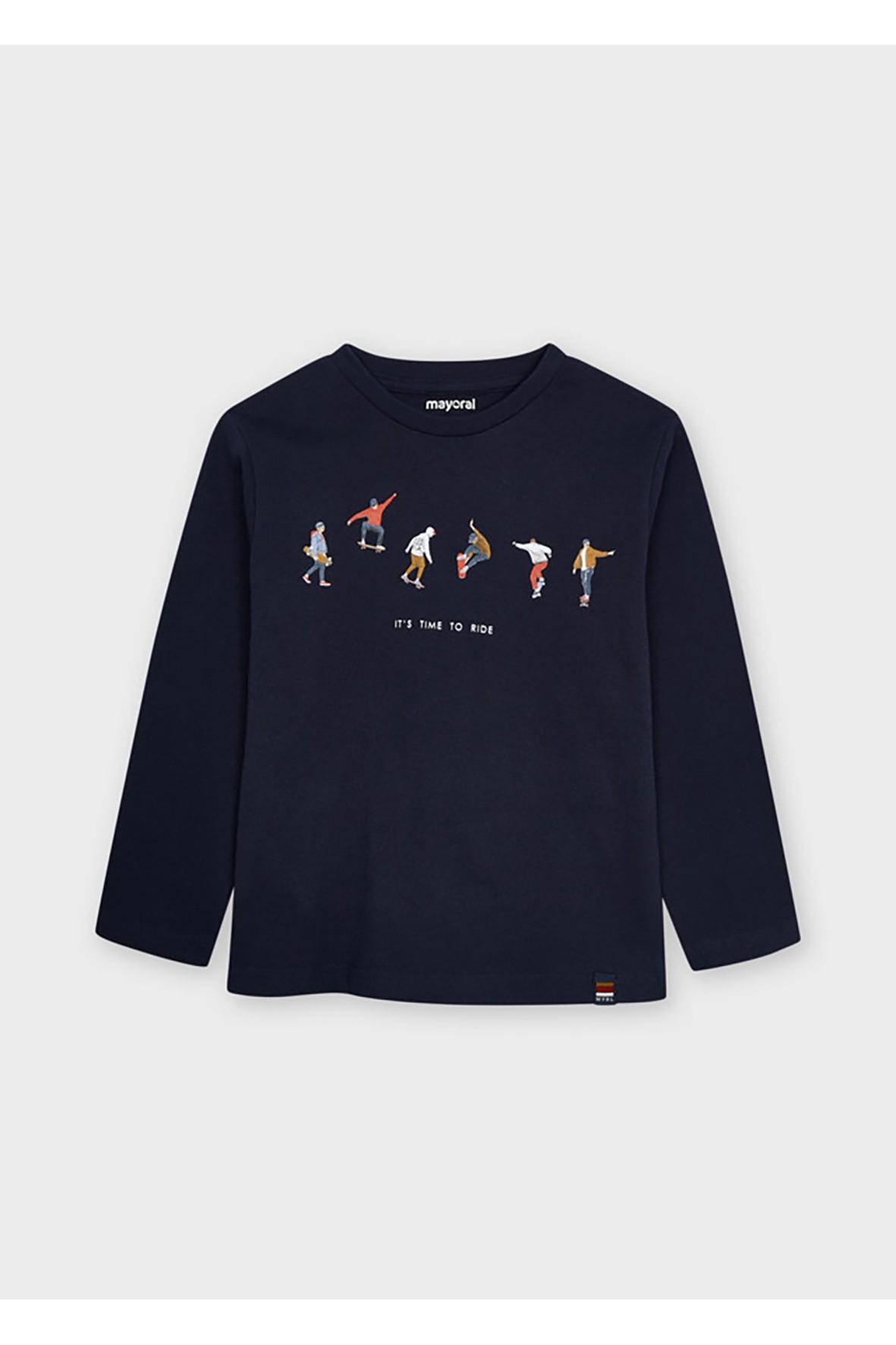 Bawełniana koszulka chłopięca z nadrukiem z długim rękawem