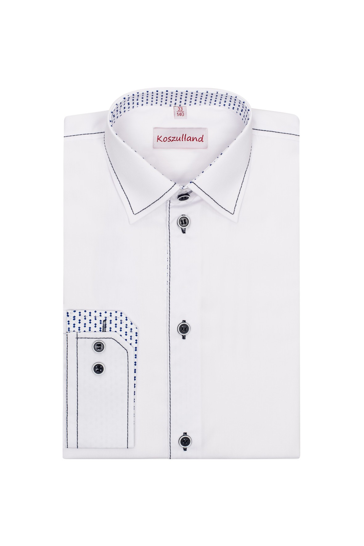 Koszula biała z granatowymi przeszyciami- długi rękaw