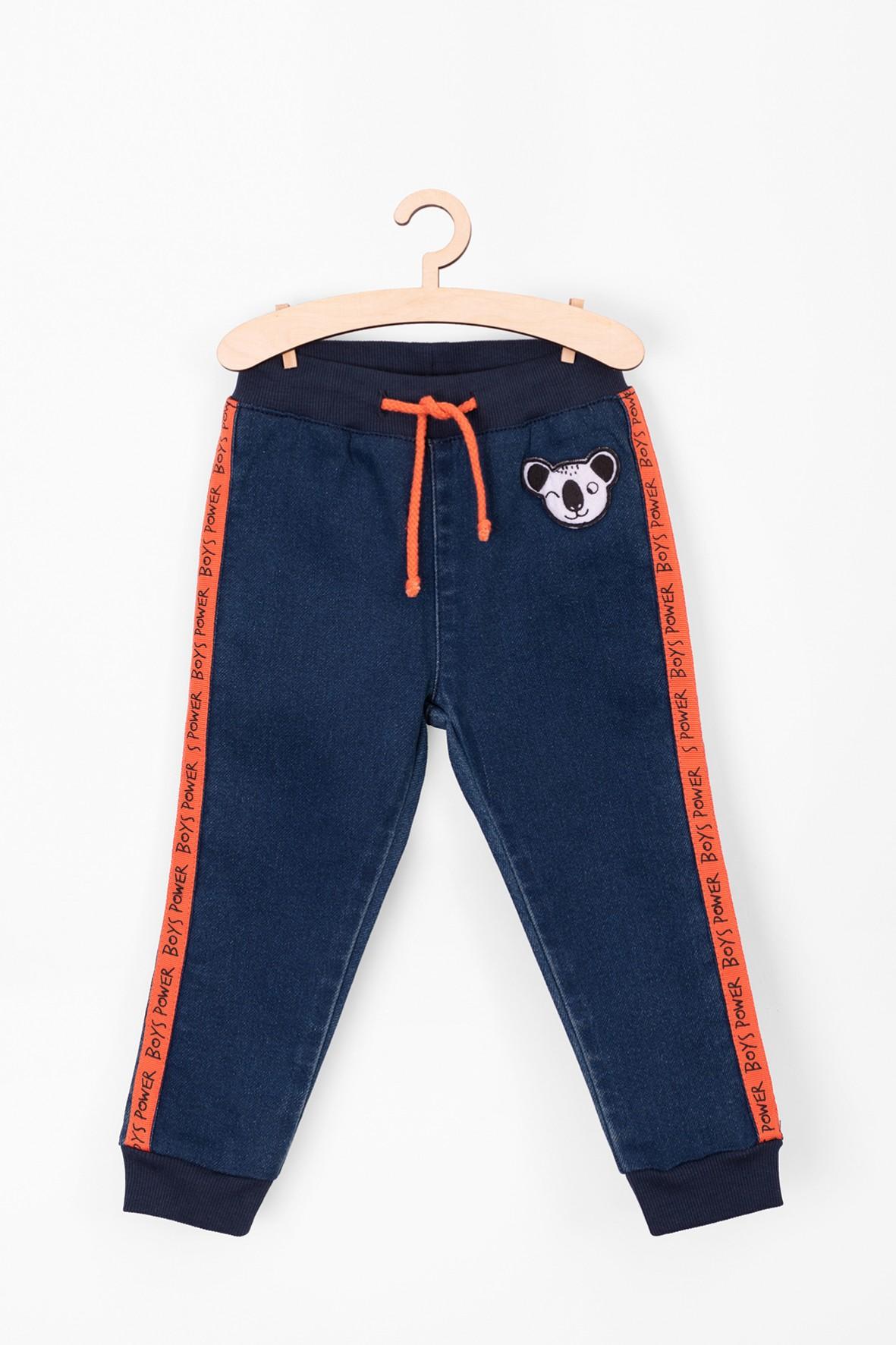 Spodnie chłopięce jeansowe z pandą