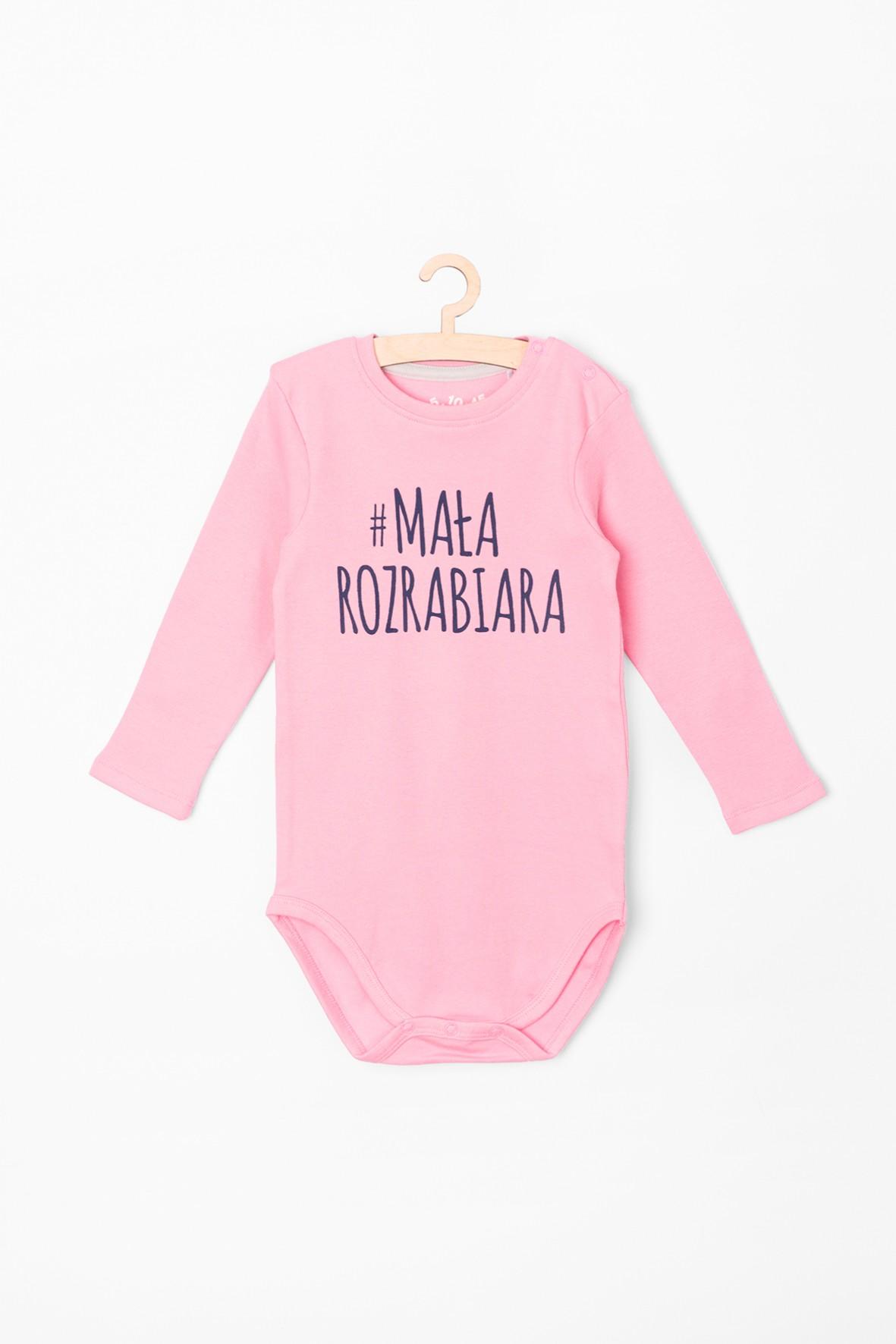 Body dziewczęce różowe z napisem #mała rozrabiara
