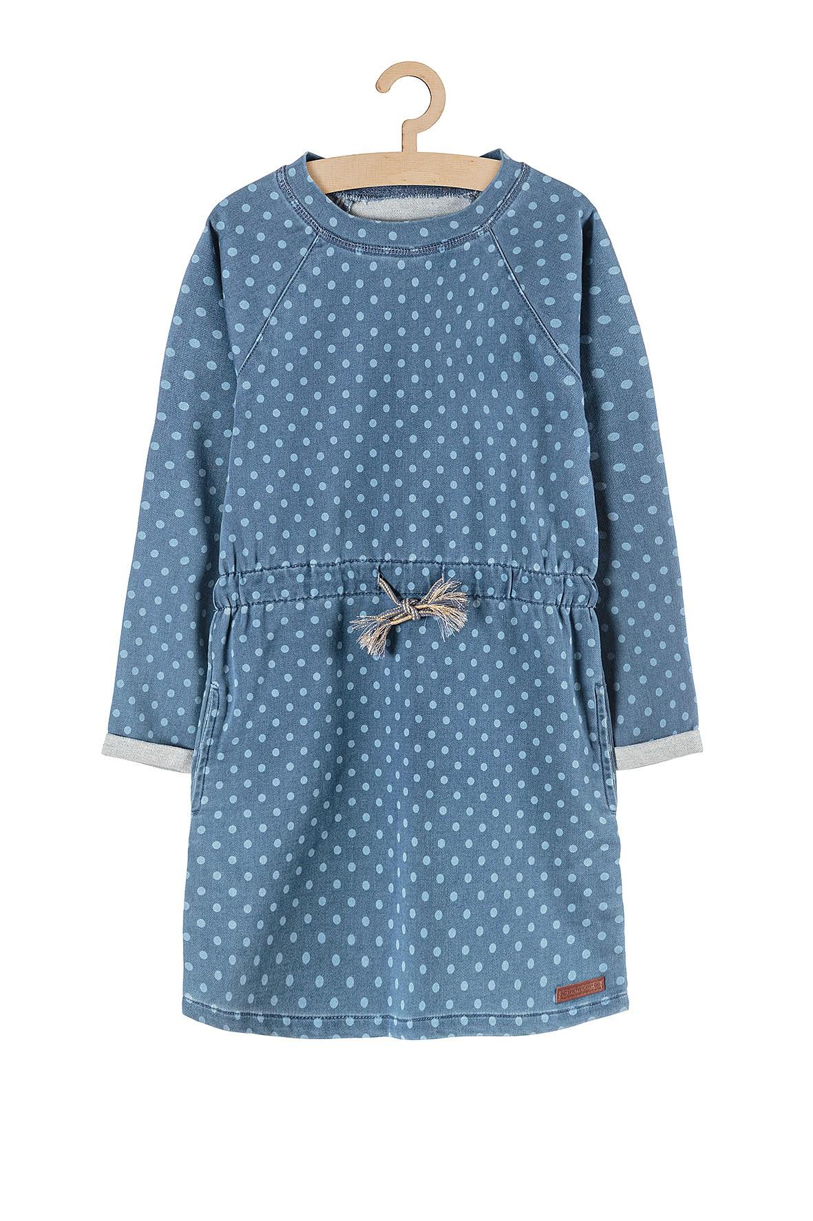 Sukienka dziewczęca z dzianiny dresowej- niebieska w grochy