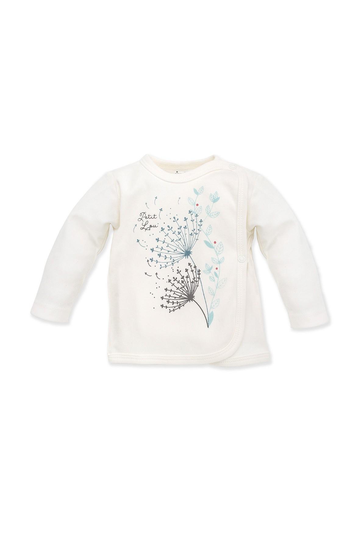 Kaftanik kopertowy ecru polne kwiaty Petit Lou- 100% bawełna