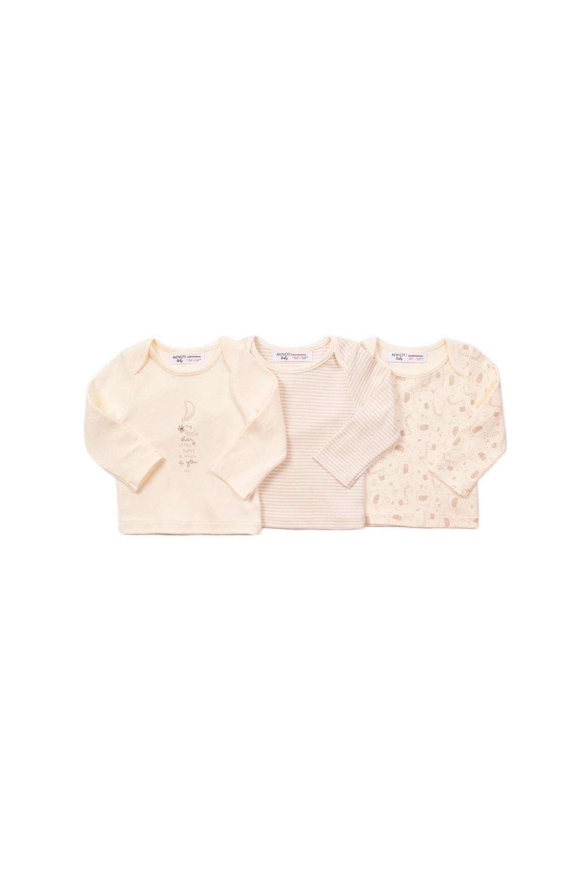 Bawełniane bluzki niemowlęce - beżowe 3pak