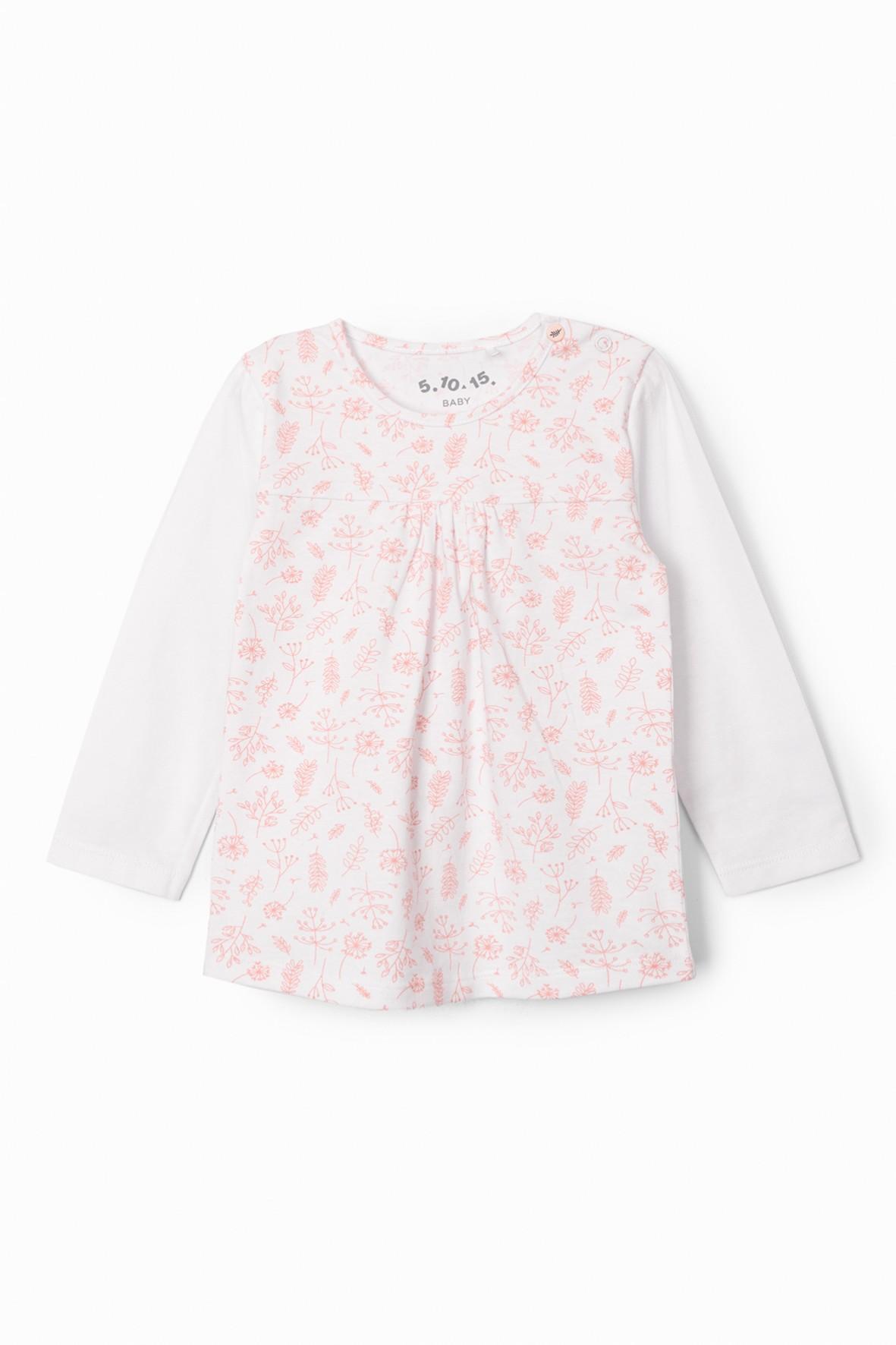 Bluzka dziewczęca w kwiatki - biała z tiulowym przodem
