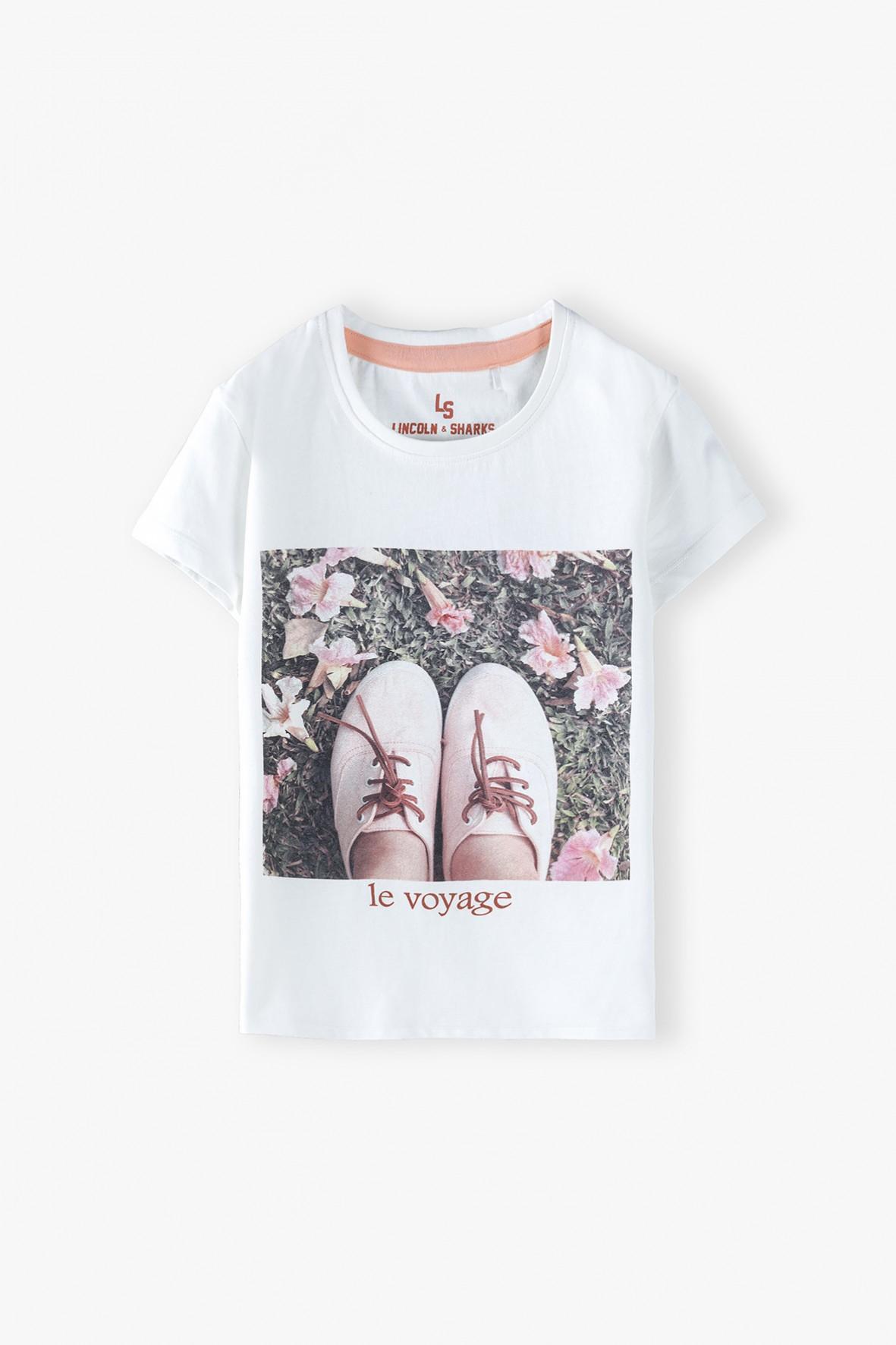 Bawełniany biały t-shirt dziewczęcy z nadrukiem