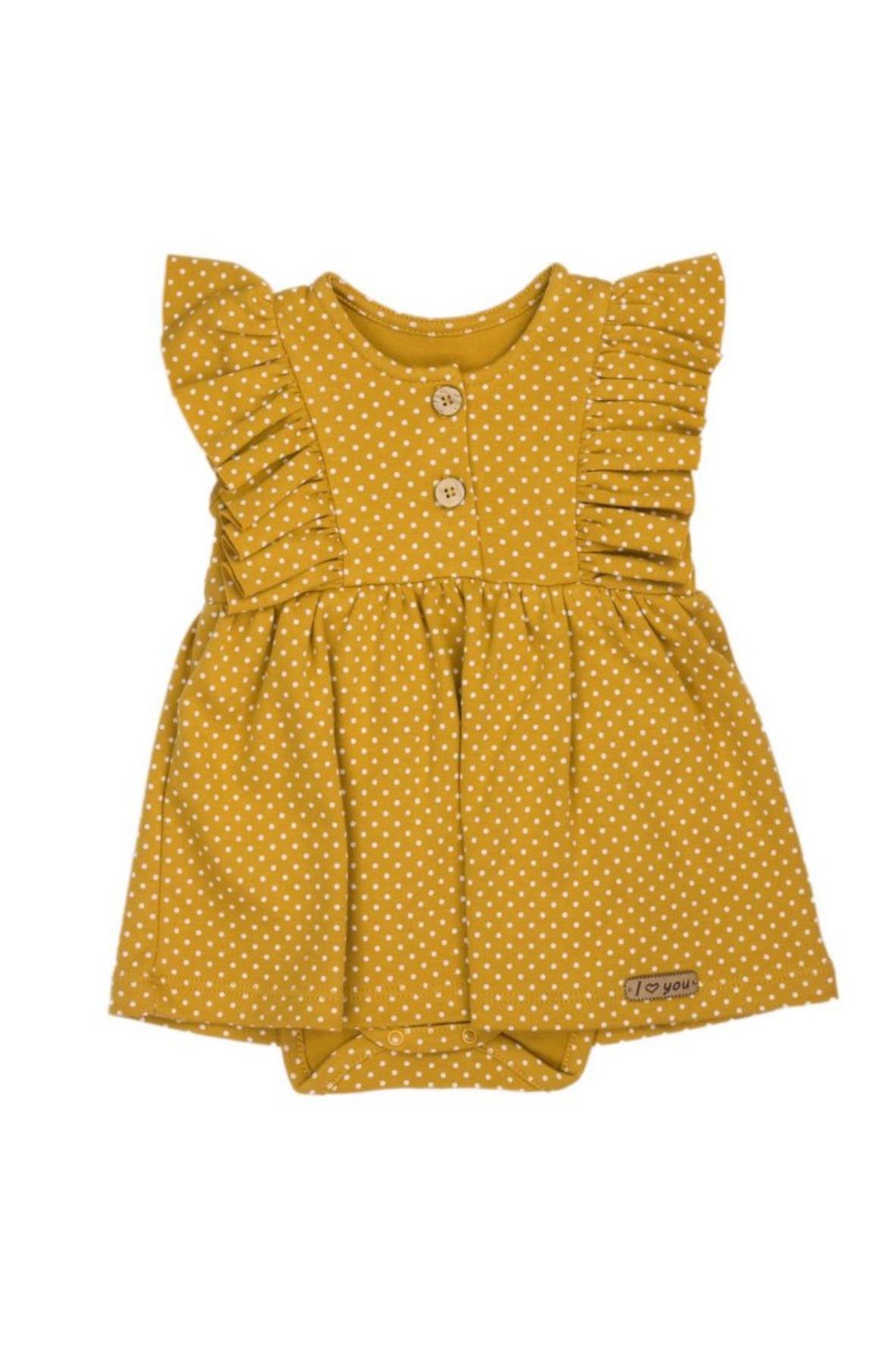 Sukienko-body z krótkim rękawem w musztardowym kolorze