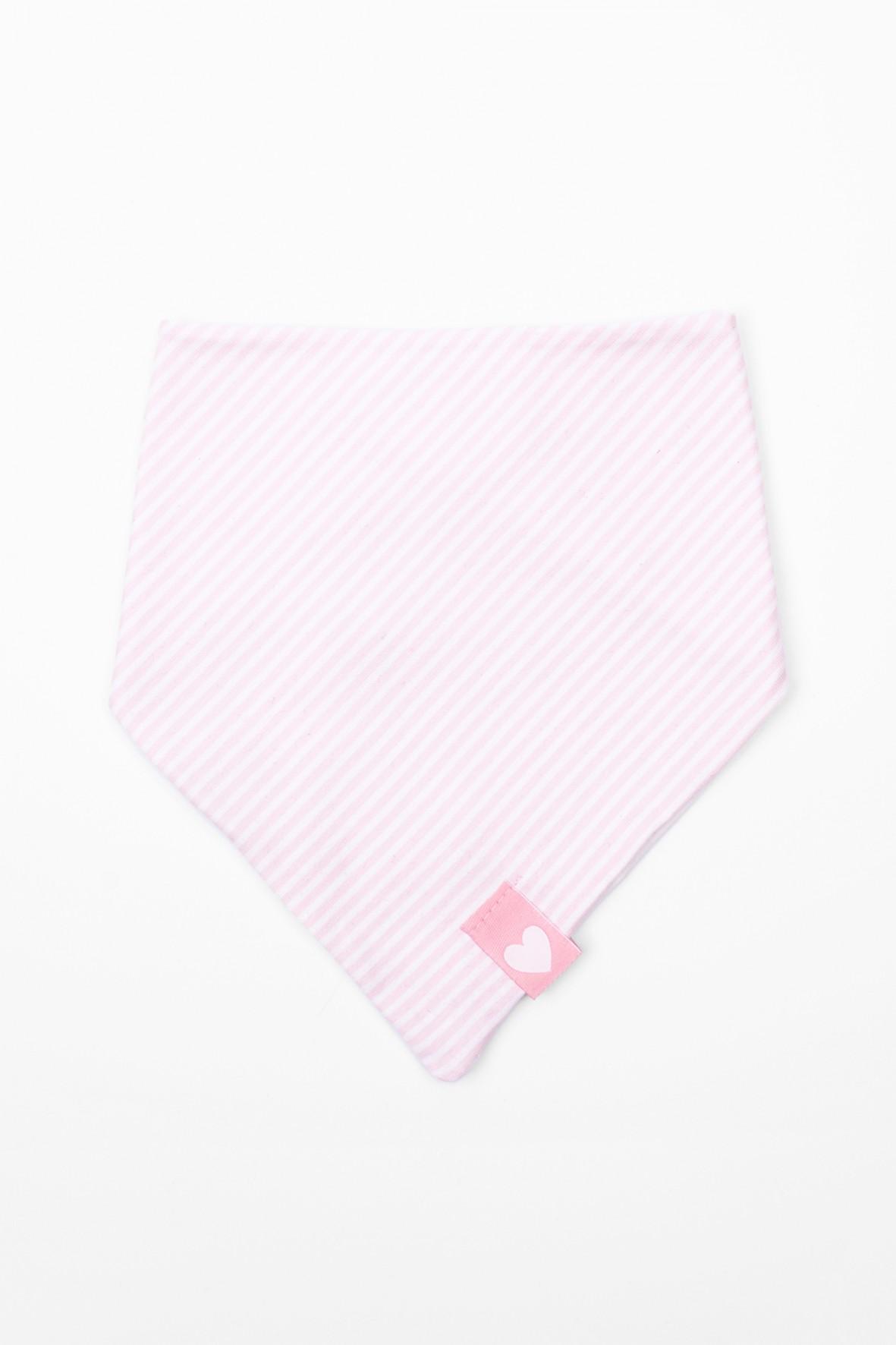 Dzianinowa chustka pod szyję dla niemowlaka- różowa w paski