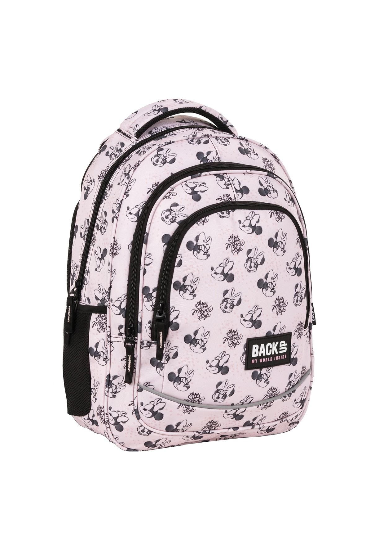 Plecak BackUp dziewczęcy z Myszką Minnie różowy