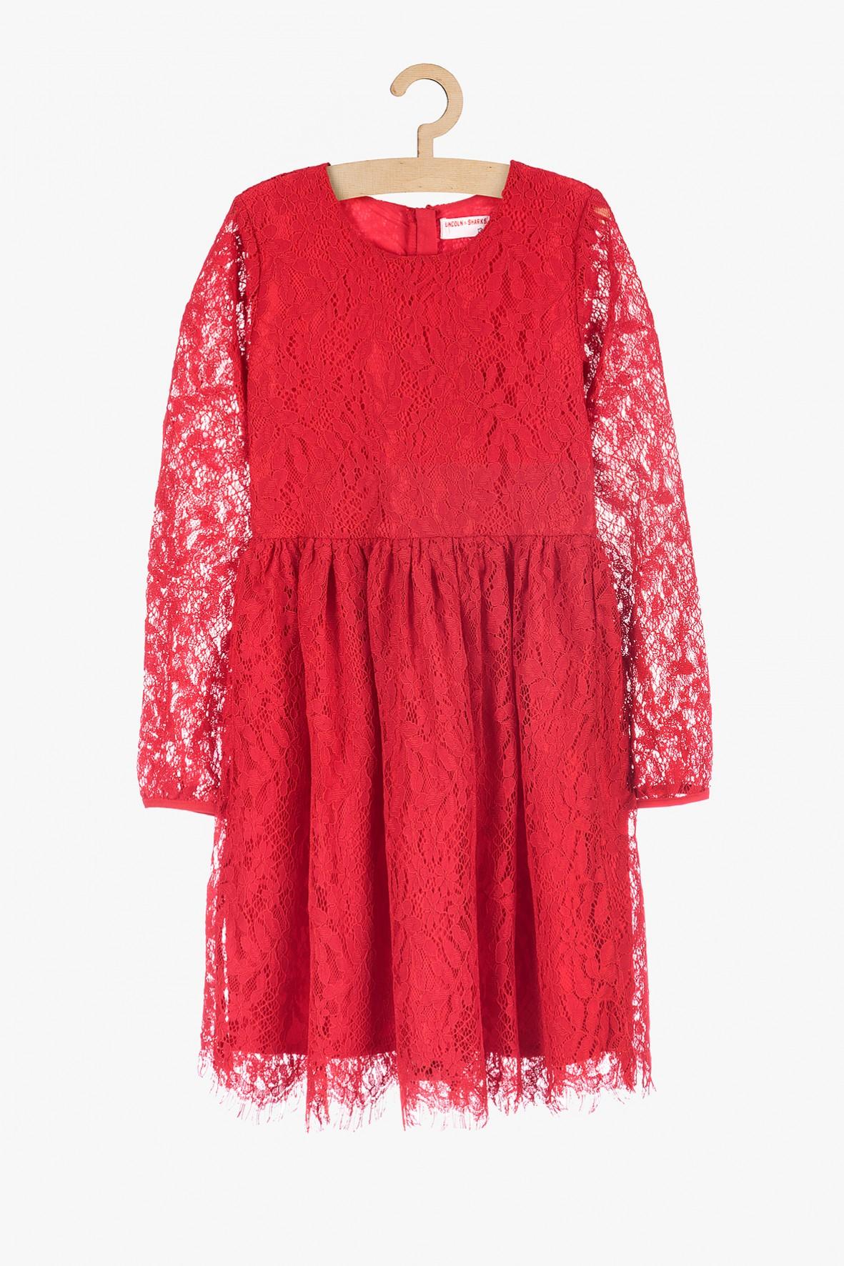 Koronkowa elegancka sukienka dla dziewczynki- czerwona