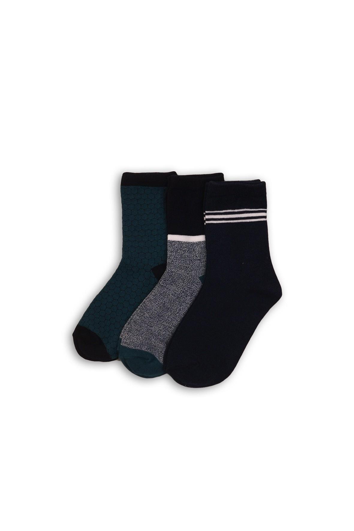 Skarpety chłopięce zielone-szare-czarne 3 pak