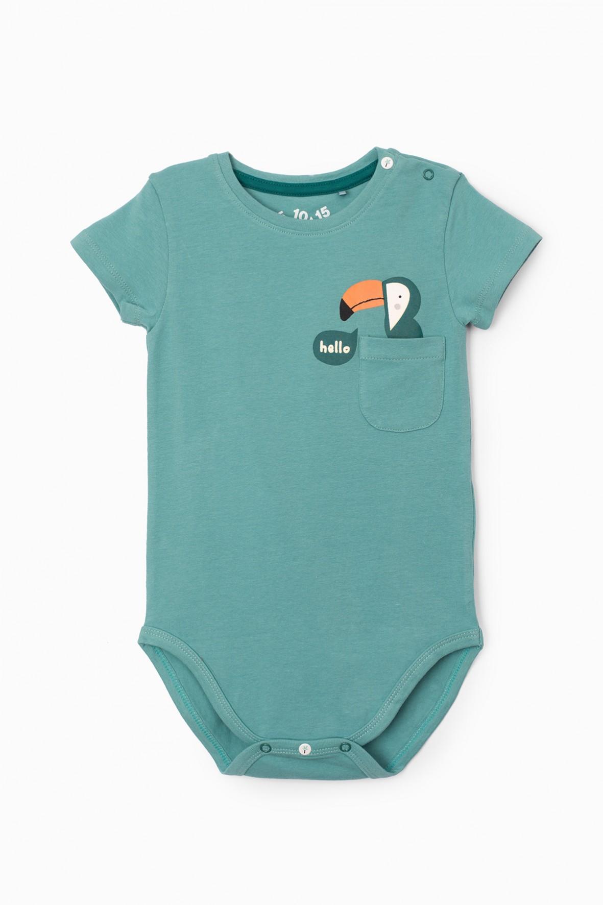 Body niemowlęce z kieszonką i tukanem