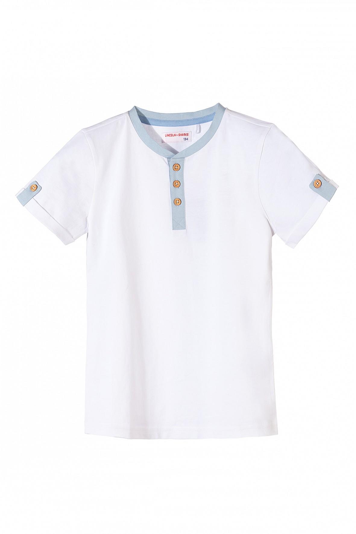 Bluzka chłopięca z krótkim rękawem biała z guzikami