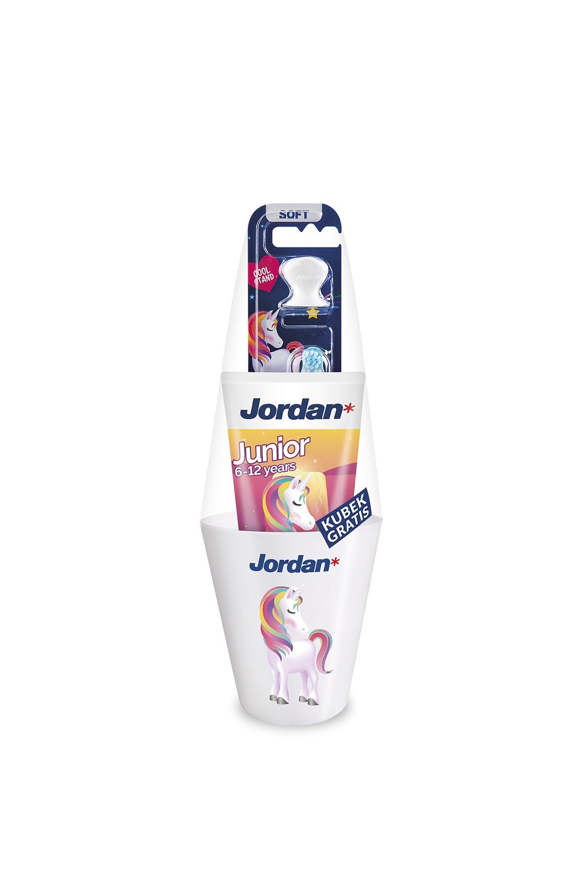 JORDAN zestaw Szczoteczka do zębów step 3 + Pasta junior + kubek duży jednorożec gratis