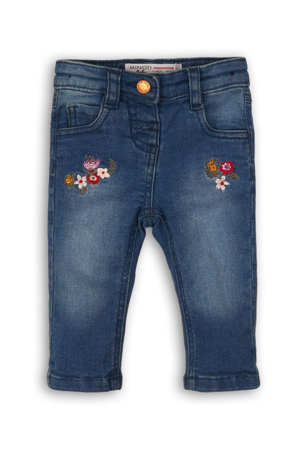 Spodnie dziewczęce z haftowanymi kwiatkami