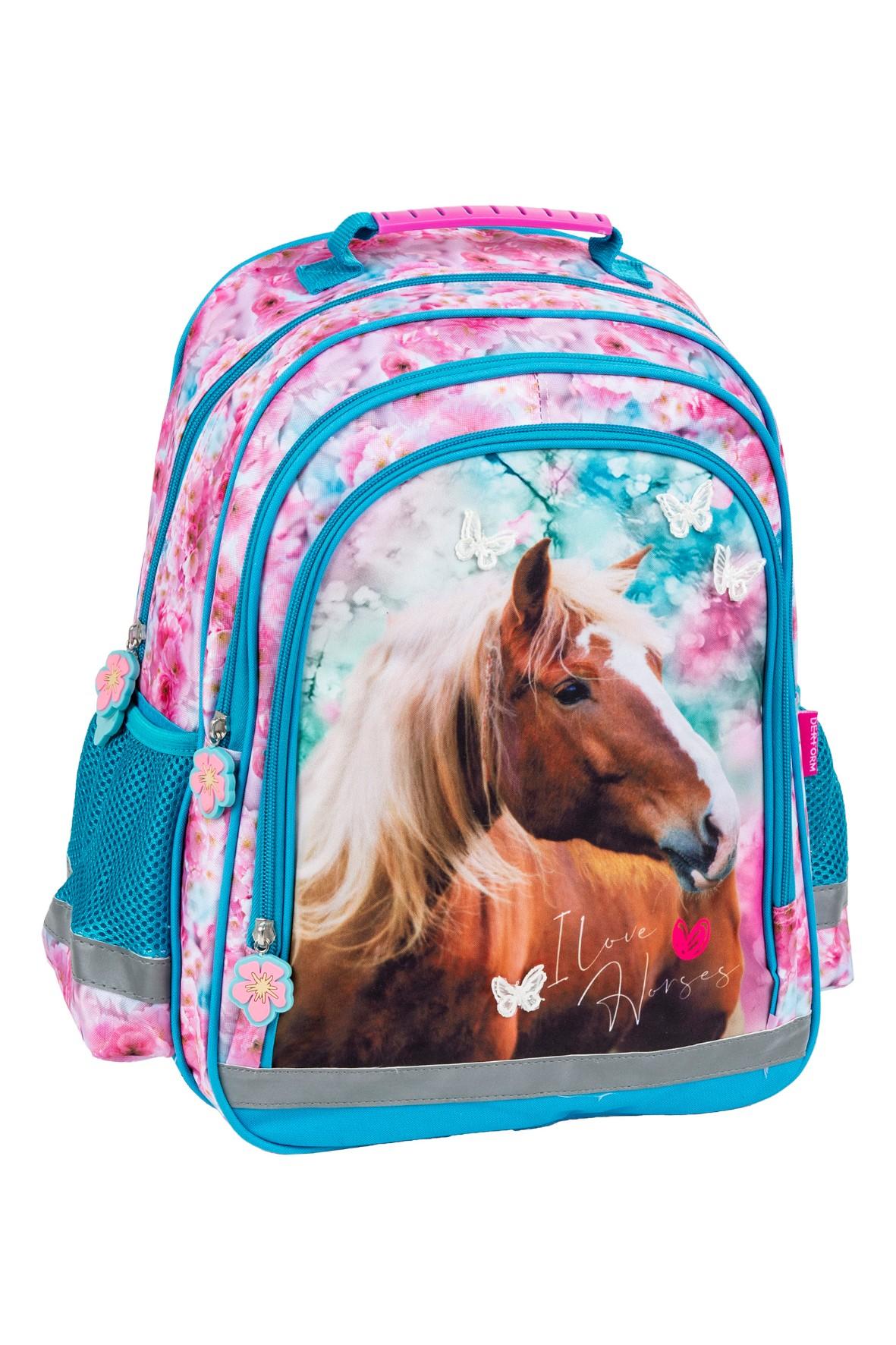 Plecak szkolny z koniem- dwukomorowy