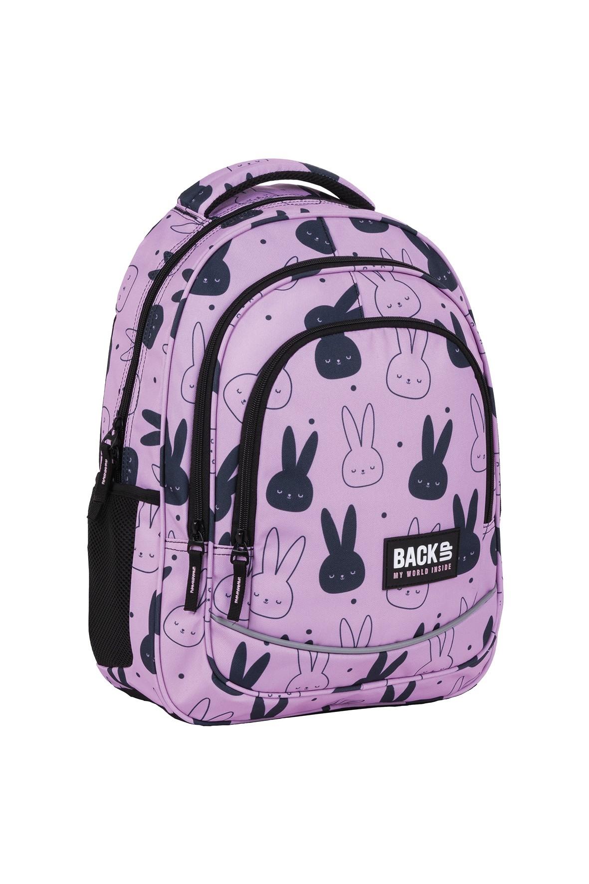 Plecak BackUp dziewczęcy z króliczkami różowy