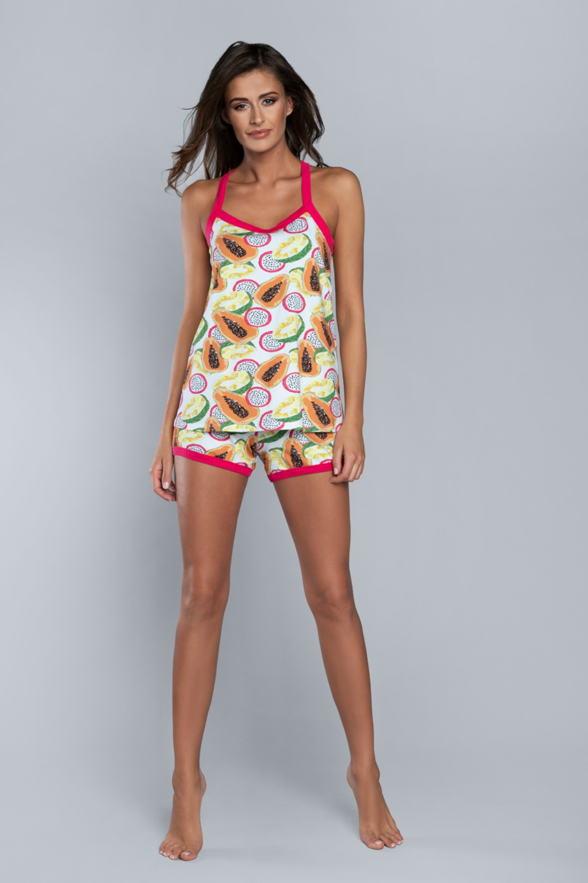 Dwuczęściowa piżama damska w kolorowe owoce Italian Fashion