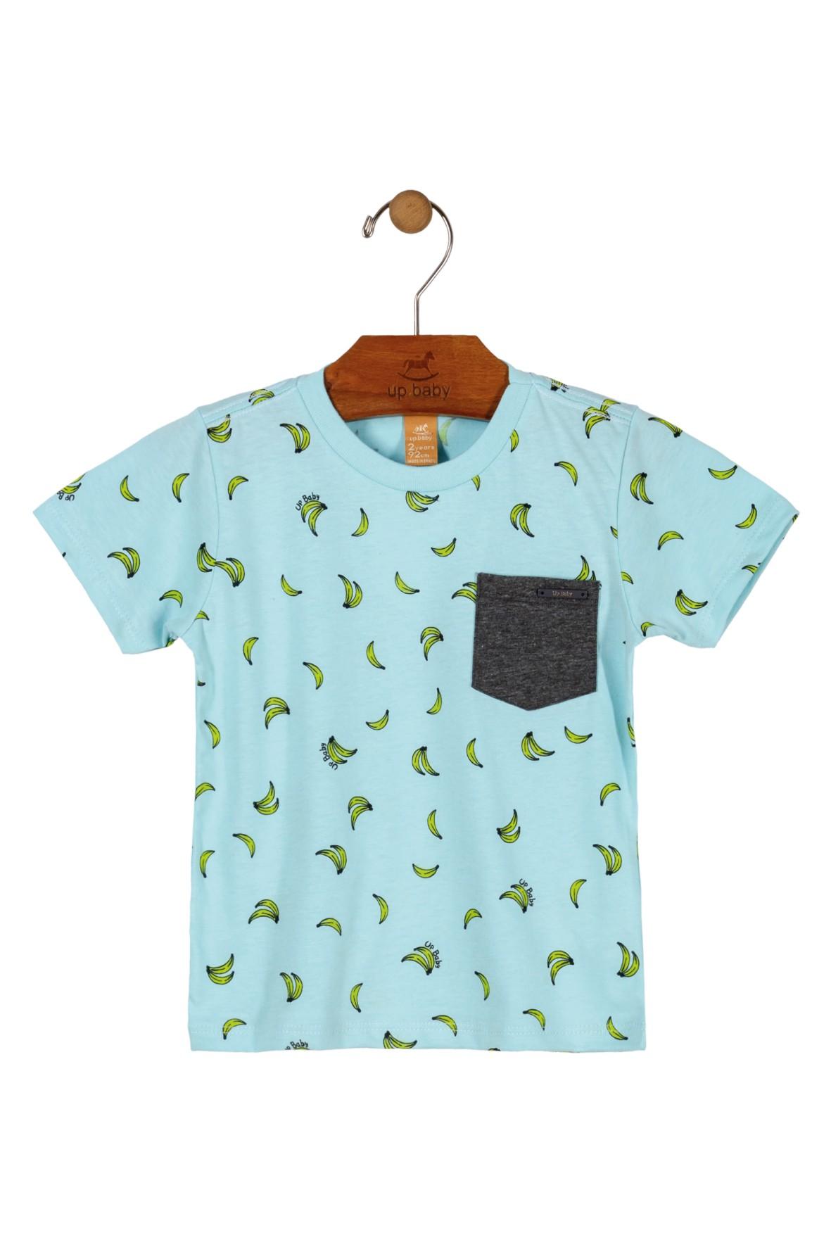 T-shirt niemowlęcy niebieski w banany- 100% bawełna