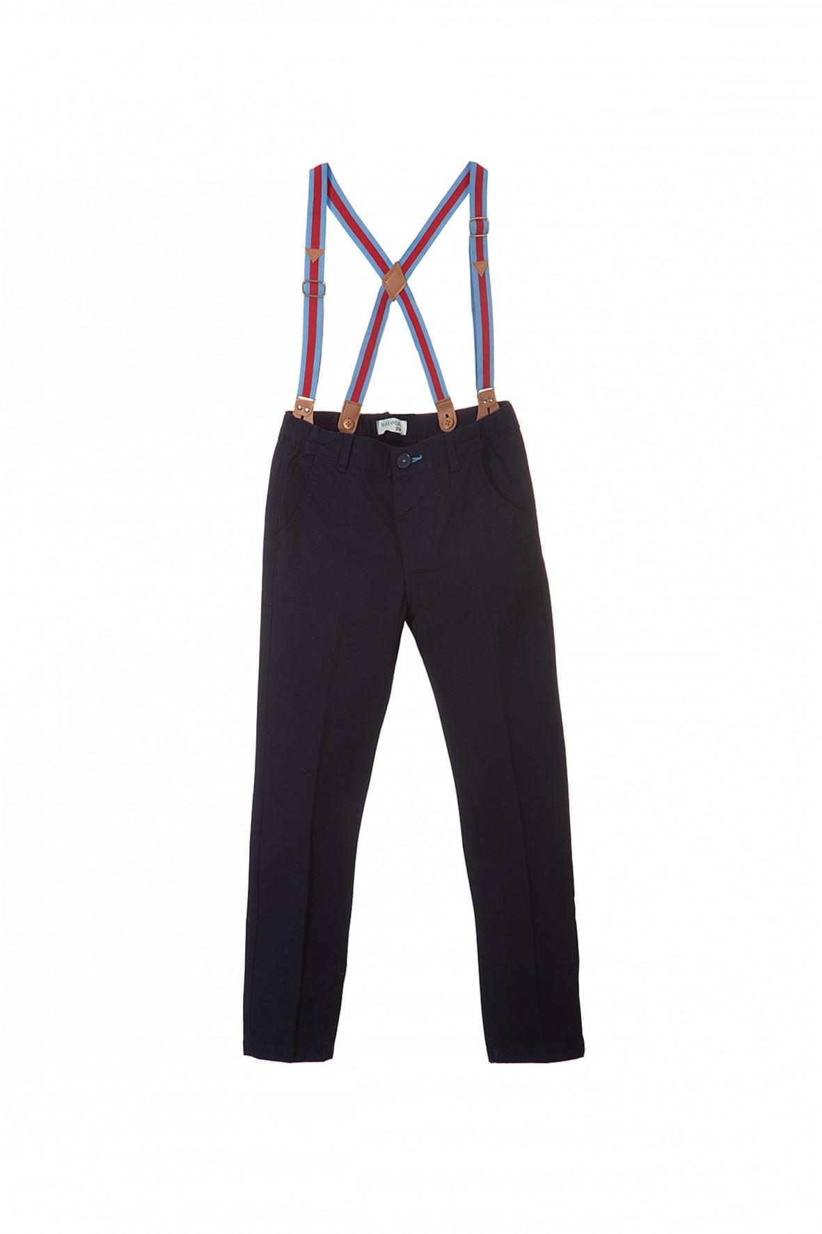 Eleganckie spodnie chłopięce z odpinanymi szelkami.