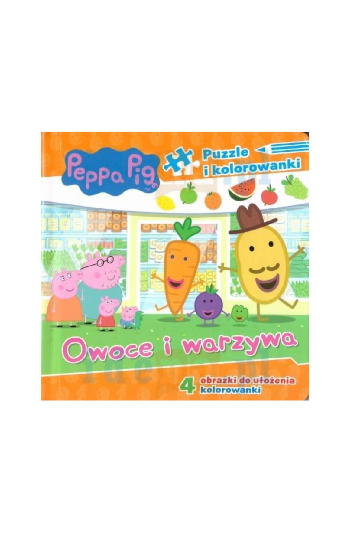 Książeczka Świnka Peppa - Puzzle i kolorowanki - Owoce i warzywa