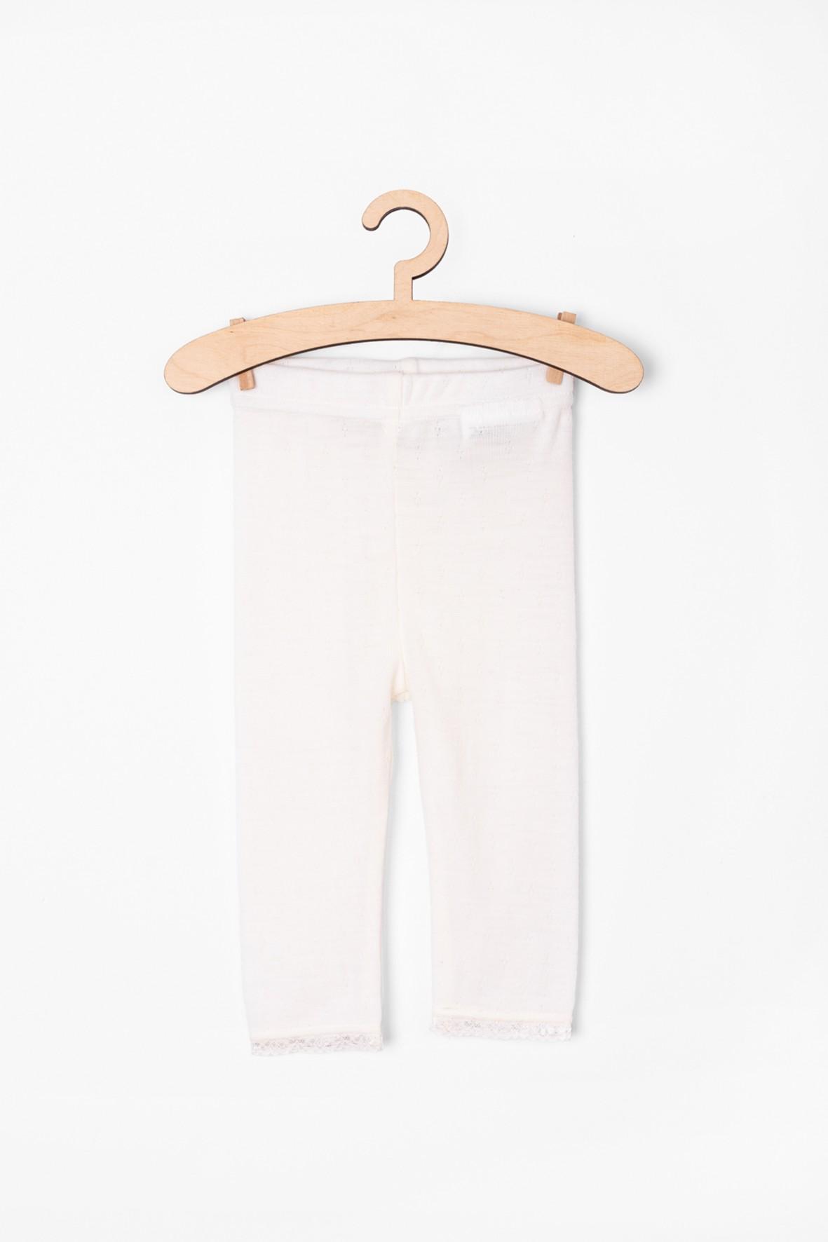 Wełniane białe leginsy dla dziewczynki- ażurowy wzór