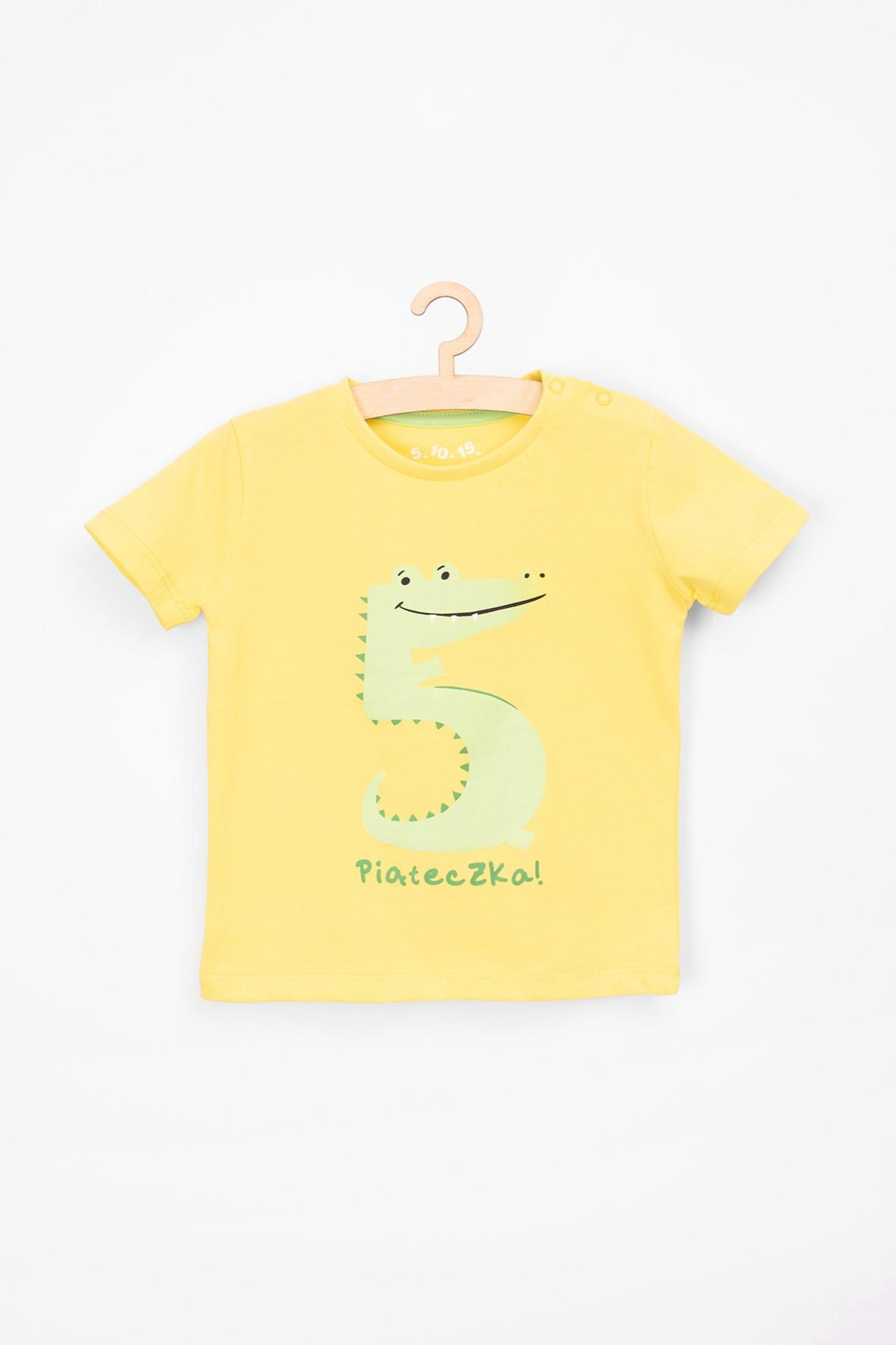 T-shirt dla niemowlaka- zółty z krokodylem