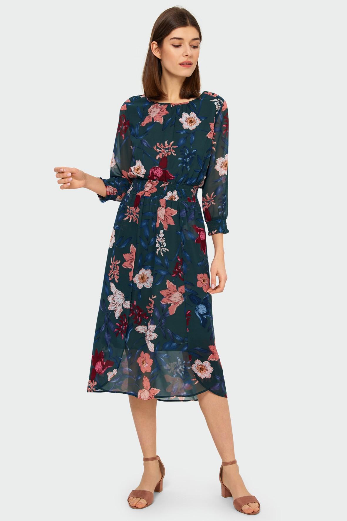 Elegancka sukienka damska w kwiaty