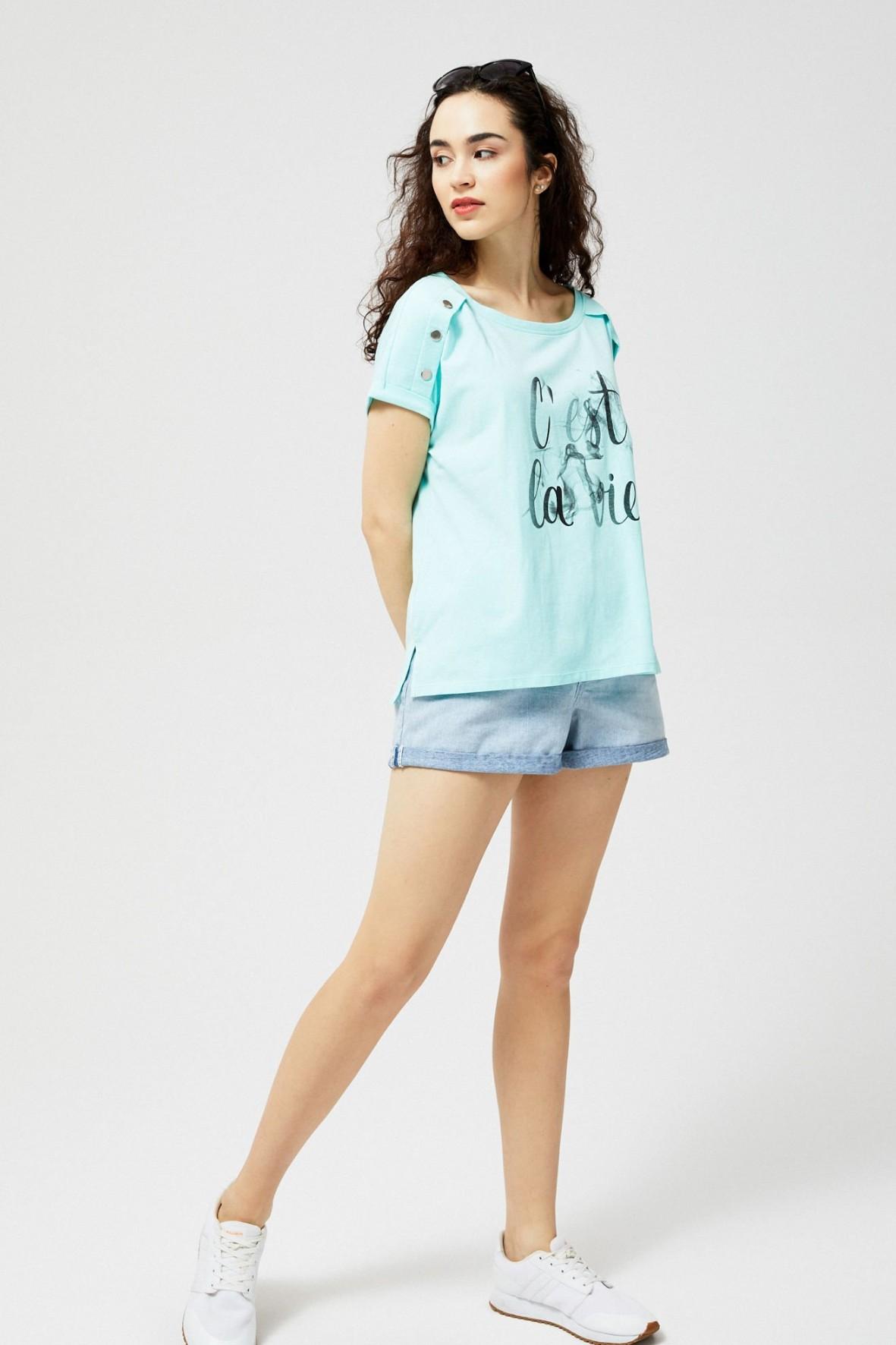 T-shirt damski bawełniany z napisem