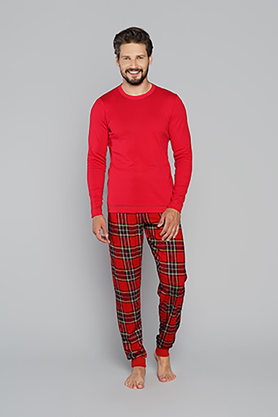 Bawełniana piżama męska z długim rękawem