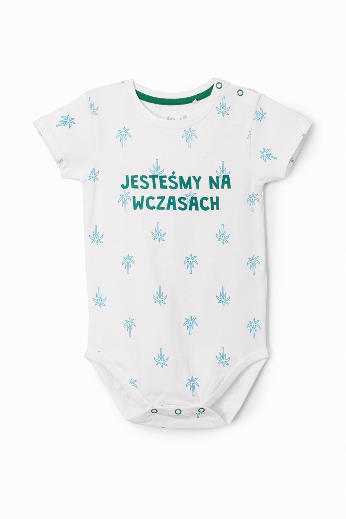 Białe body niemowlęce z napisem- Jesteśmy na wczasach
