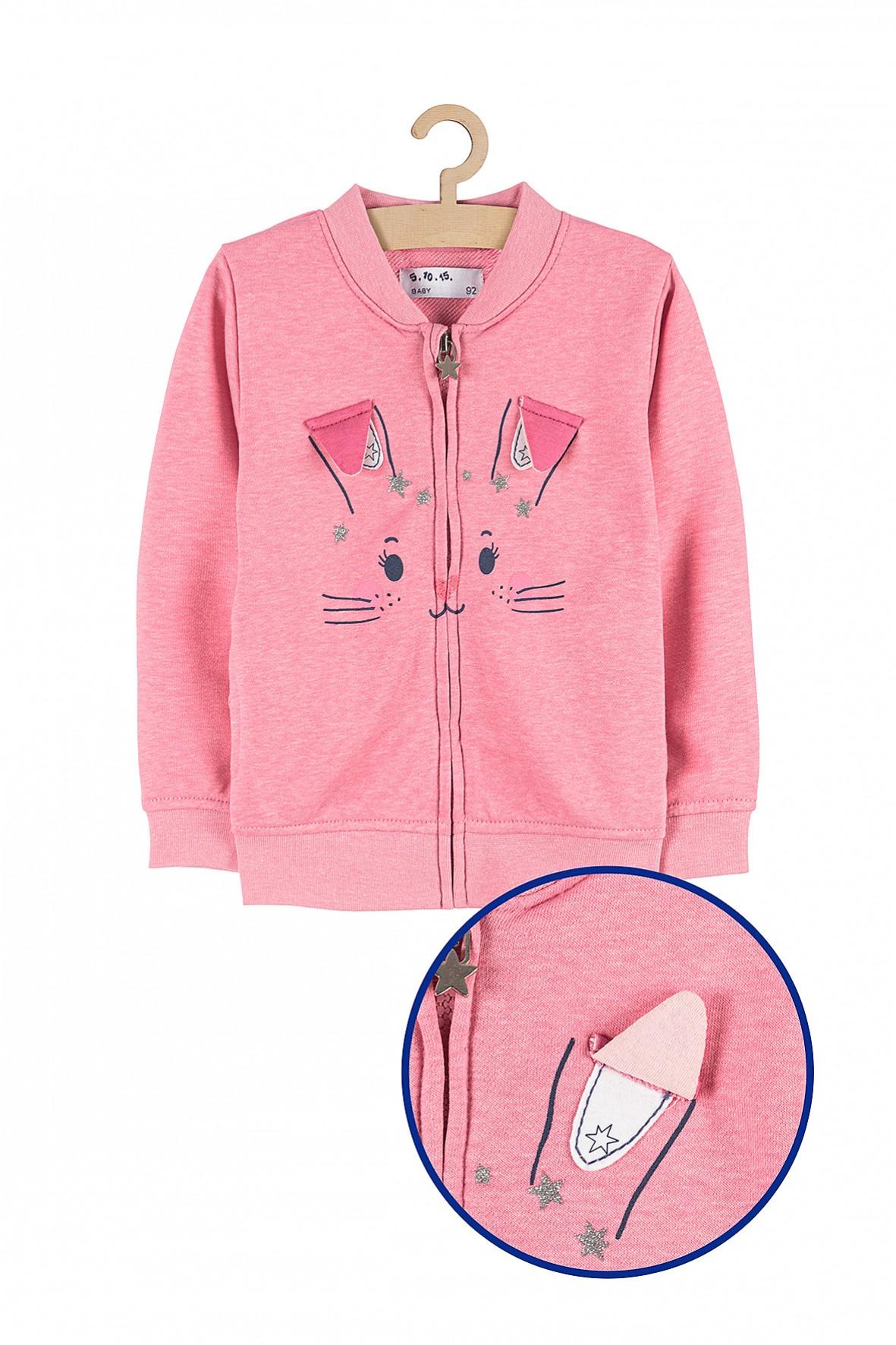 Bluza dziewczęca rozpinana różowa z króliczkiem